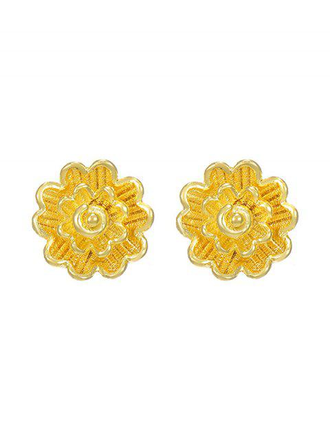 Layered Flower Shape Gold Plated Stud Earrings