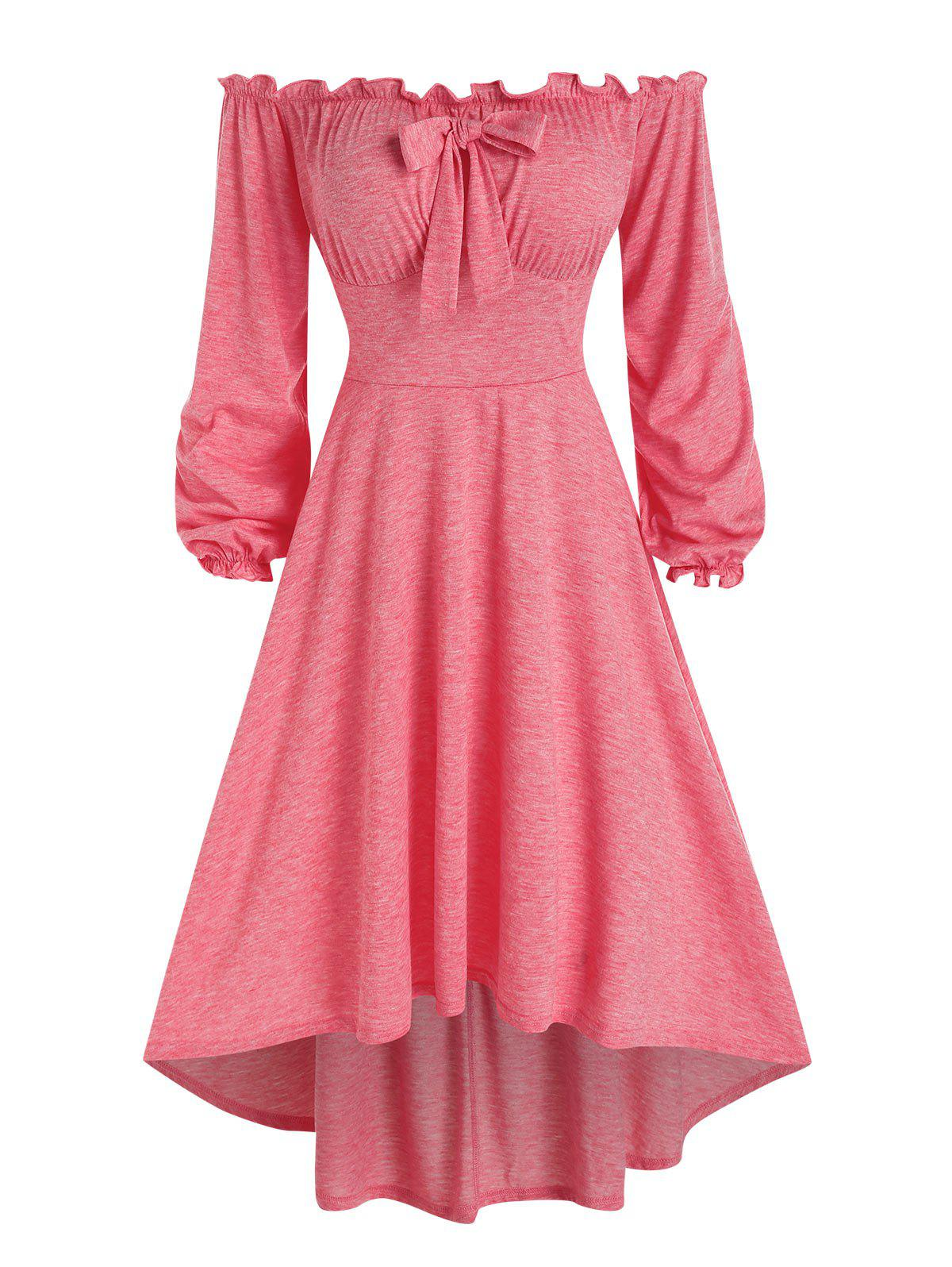 Off The Shoulder Bowknot High Low Dress - LIGHT PINK 3XL