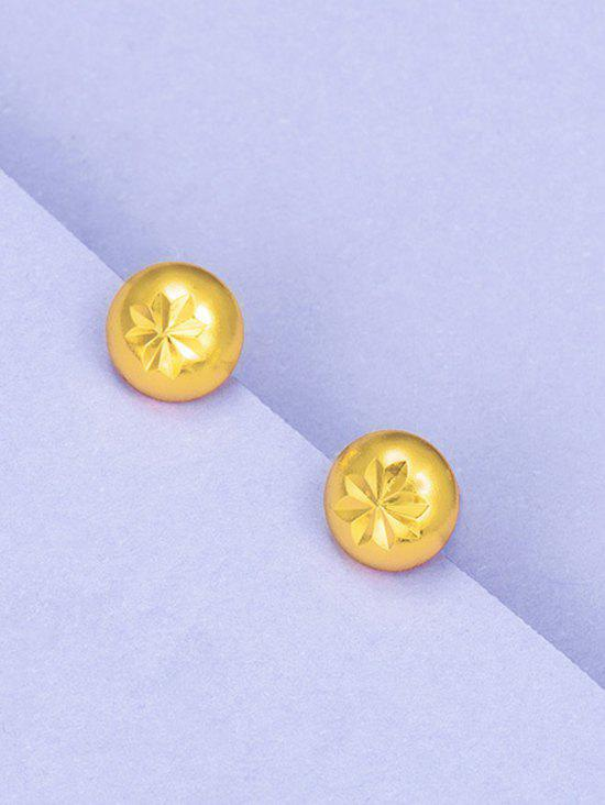 Retro Engraved Floral Gold Plated Stud Earrings - GOLDEN