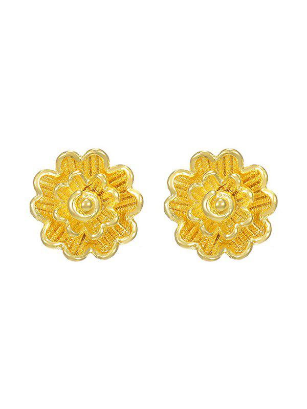 Layered Flower Shape Gold Plated Stud Earrings - GOLDEN