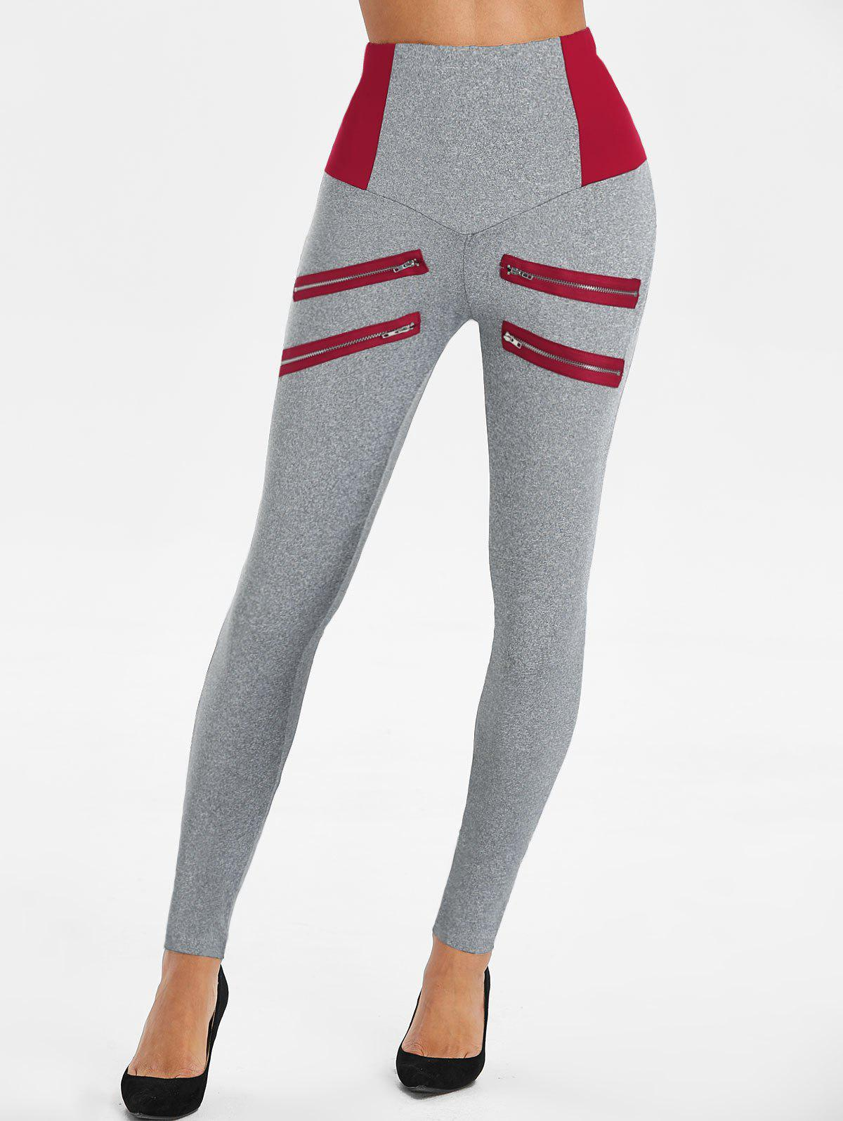 Zip Embellished Elastic Waist Heathered Leggings - DEEP RED M