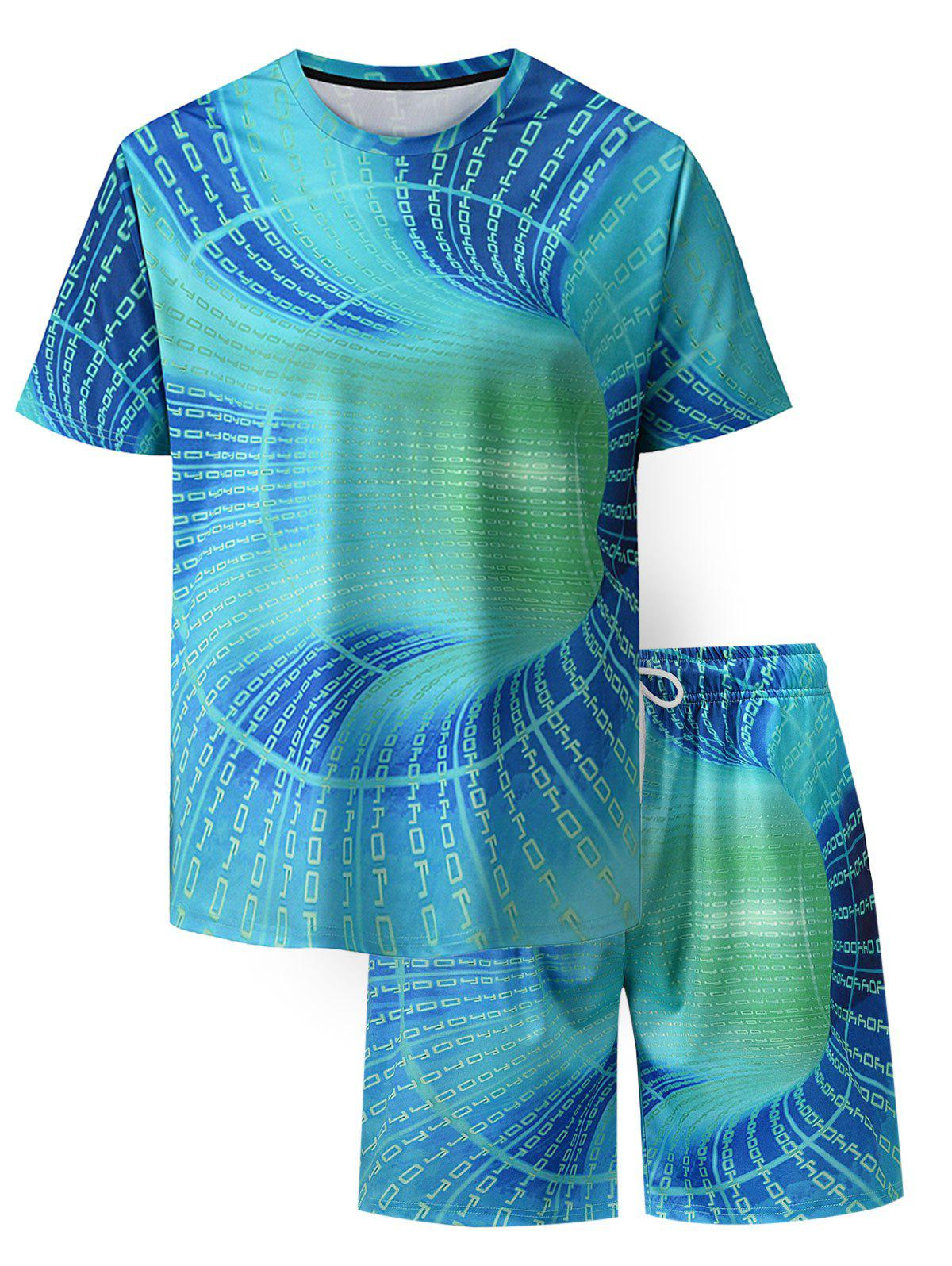 Letter Allover Print T-shirt And Shorts - TURQUOISE L