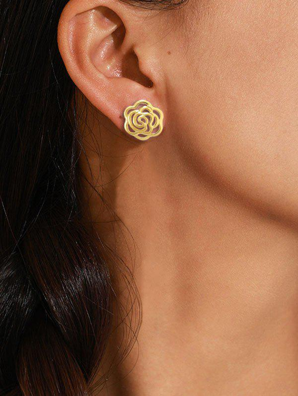 Hollow Out Flower Gold-plated Stud Earrings - GOLDEN