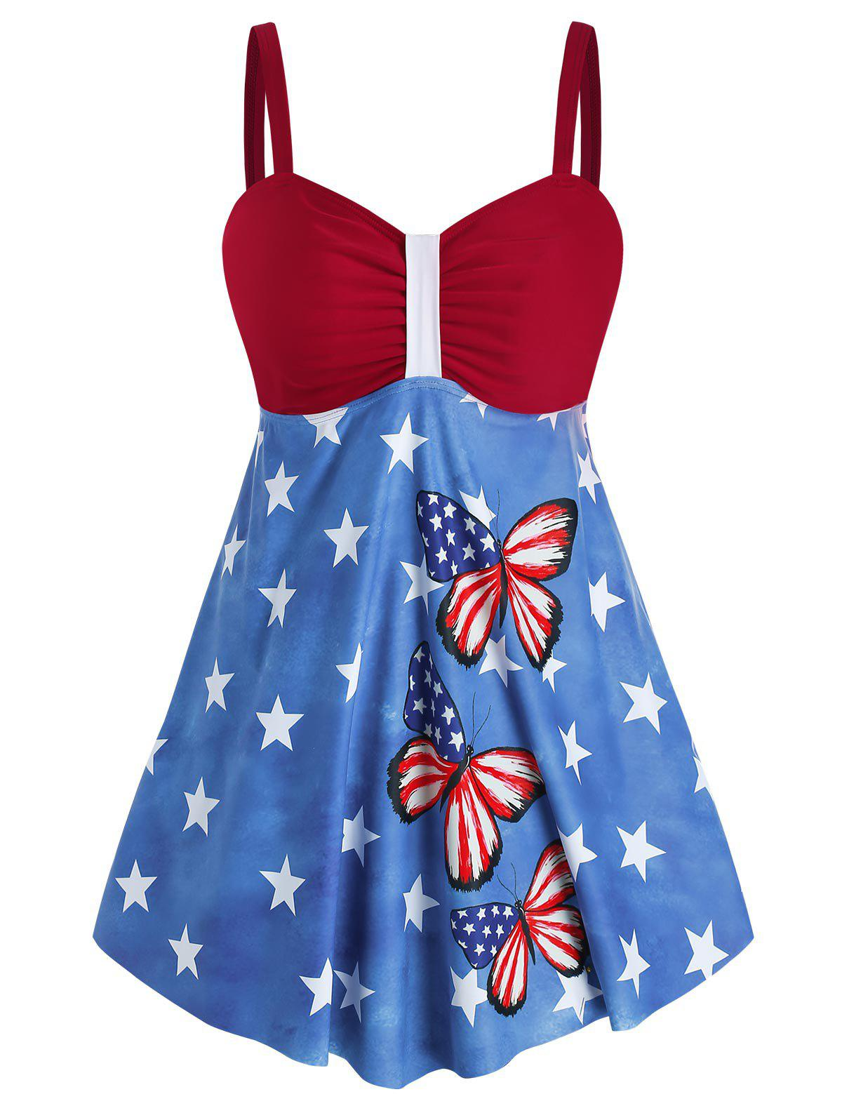 Plus Size American Flag Butterfly Print Ruched Padded Tankini Set - multicolor 4X