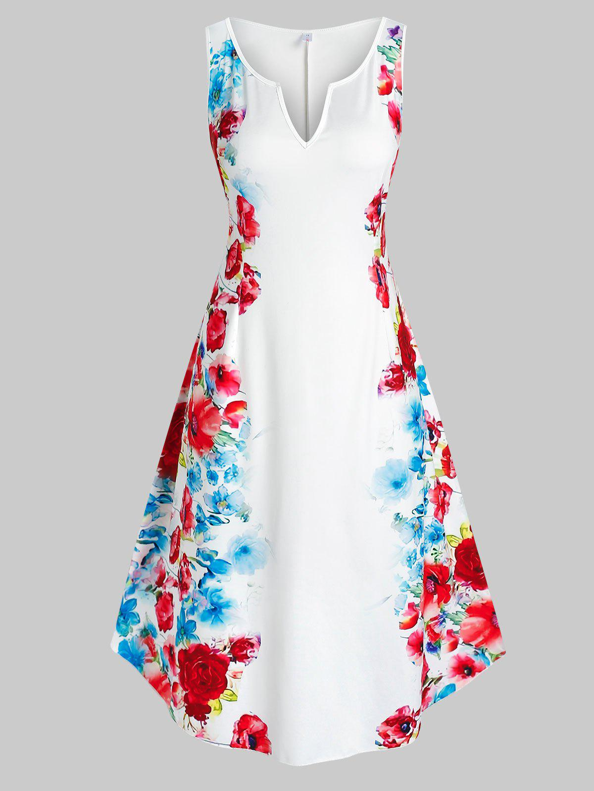 Plus Size Floral Print Sleeveless Midi Dress - WHITE 2X