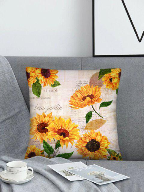 Letters Sunflower Printed Square Pillowcase