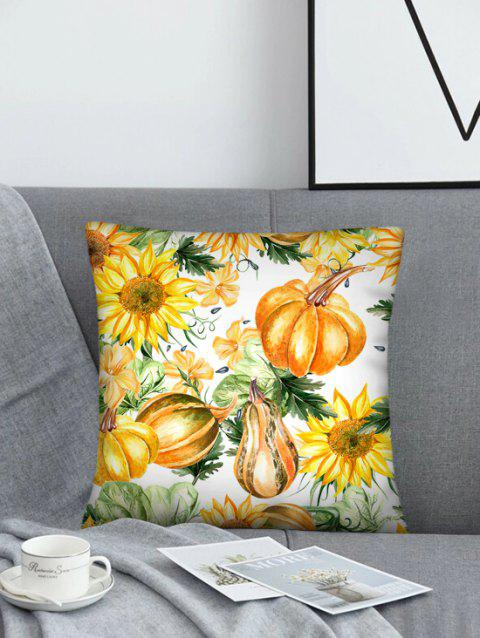 Sunflower Pumpkin Pattern Linen Square Pillowcase