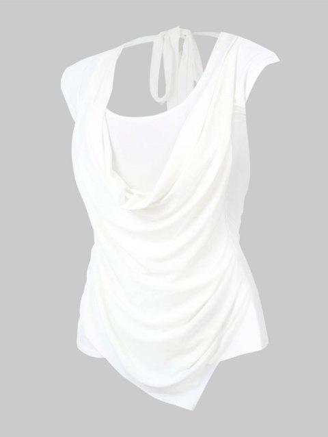 Plus Size Cowl Front Ruched Tie Sleeveless Tee