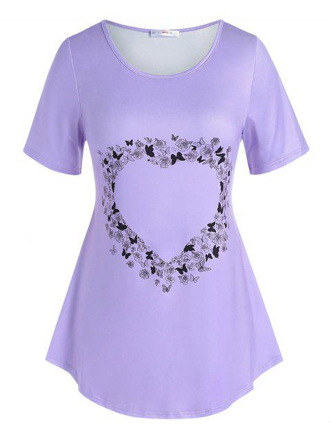 Plus Size Rose Butterfly Heart Printed T Shirt
