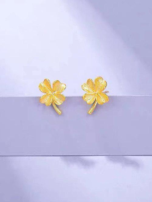 Gold Plated Clover Shaped Stud Earrings - GOLDEN