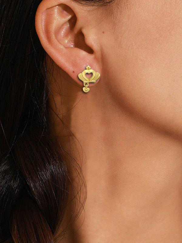 Crown Hollow Heart Gold Plated Stud Earrings - GOLDEN