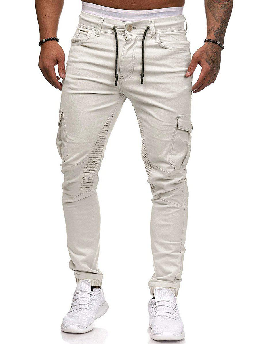 Pleated Trim Drawstring Cargo Jogger Pants - BLANCHED ALMOND 2XL