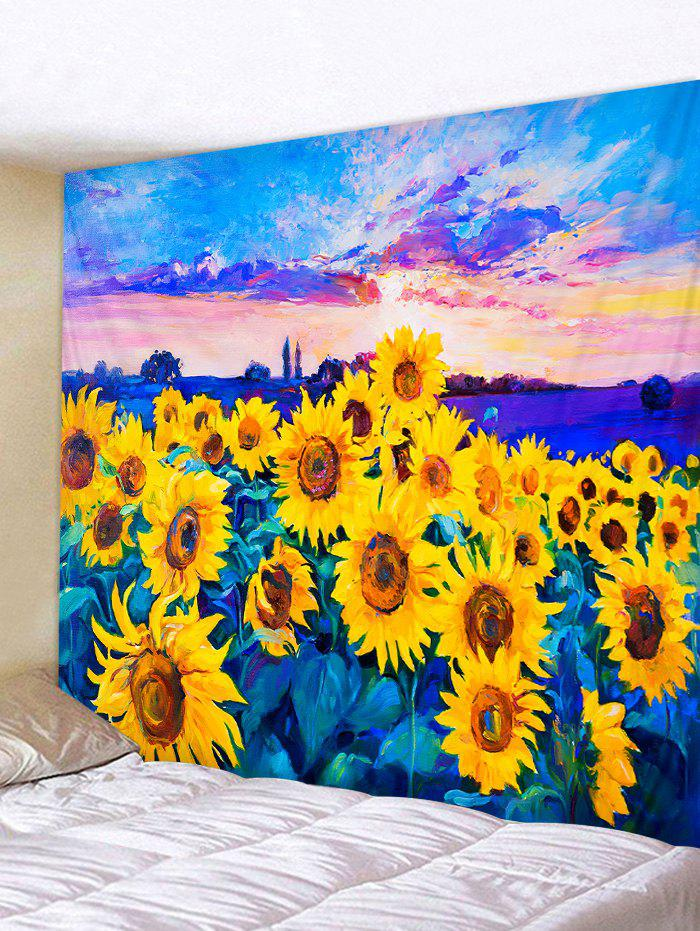 Oil Painting Sunflower Pattern Wall Tapestry - BRIGHT YELLOW W91 X L71 INCH