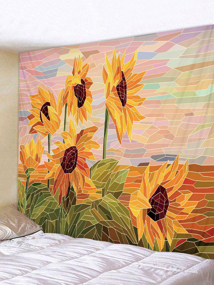Patchwork Sunflower Printed Wall Tapestry - ORANGE GOLD W91 X L71 INCH
