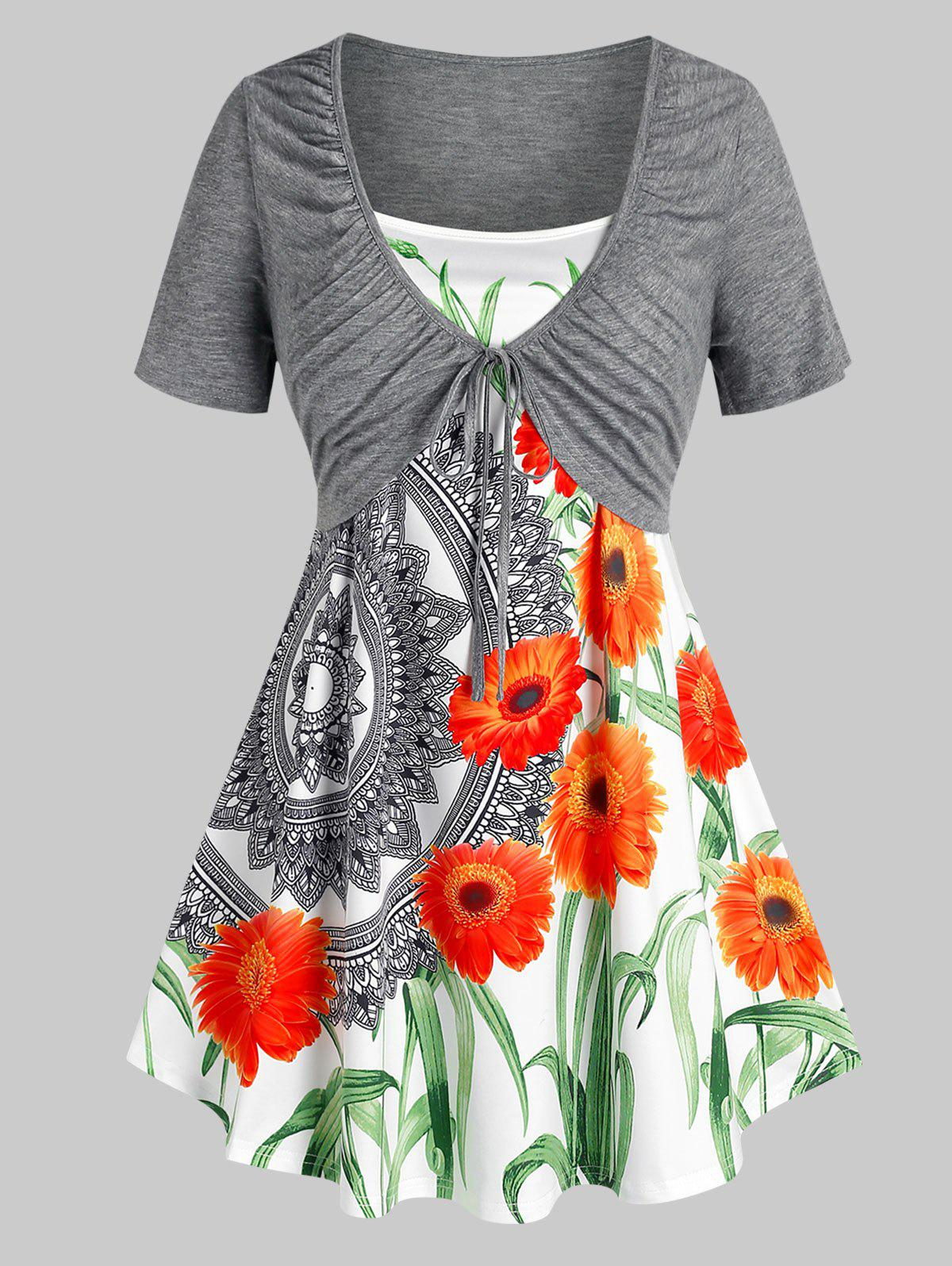 Plus Size Ruched Front Tie Tee and Floral Camisole Set - GRAY 1X
