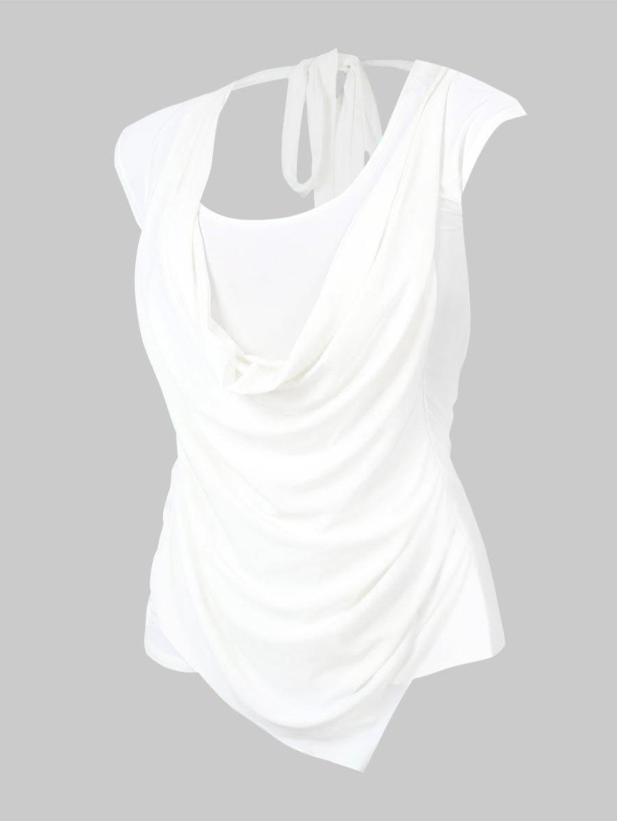 Plus Size Cowl Front Ruched Tie Sleeveless Tee - WHITE 5XL