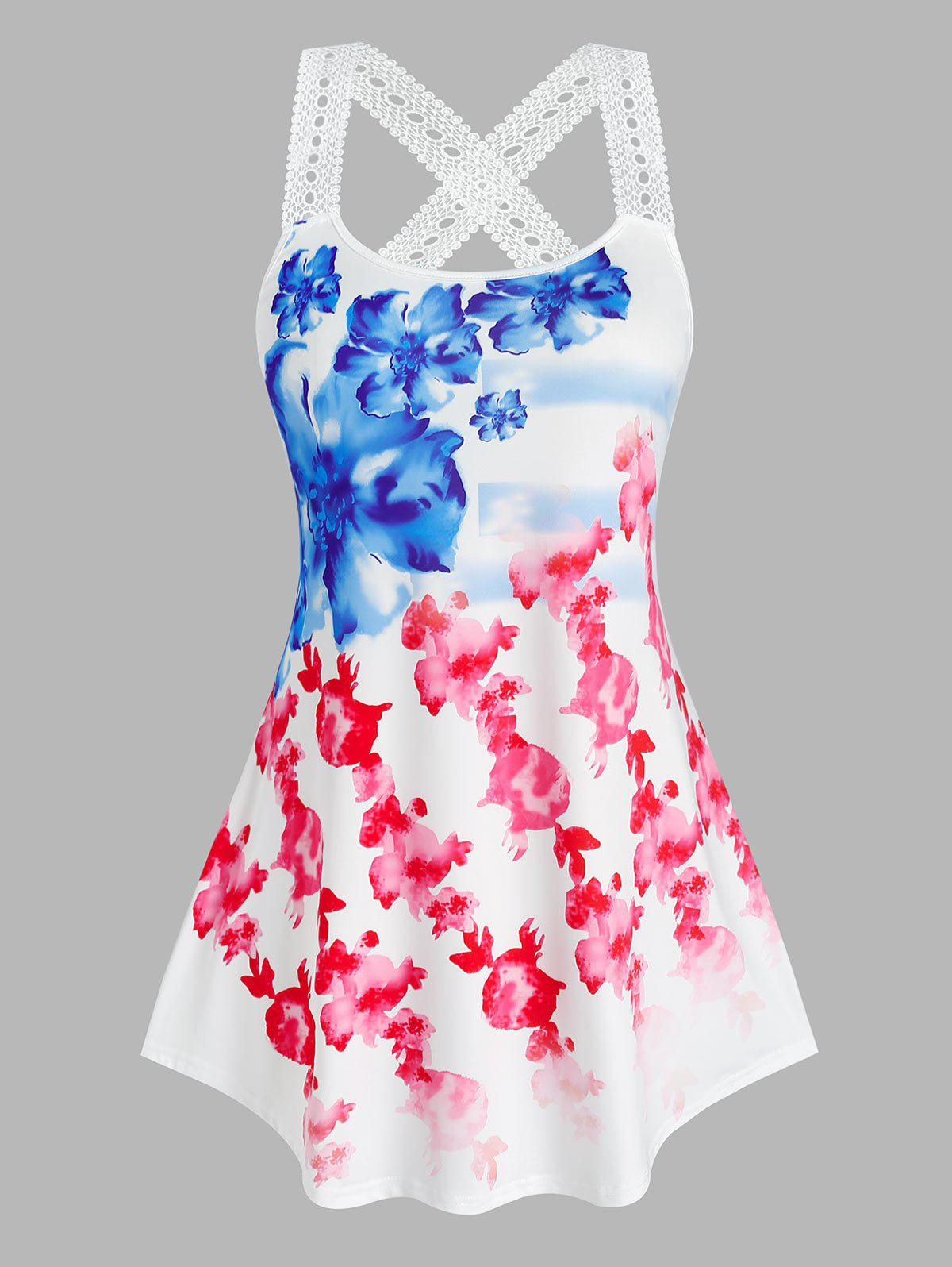 Plus Size Watercolor Flower Print Crochet Strap Tank Top - WHITE 2X