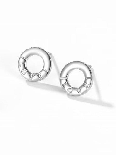 Letter Carved Round Stud Earrings