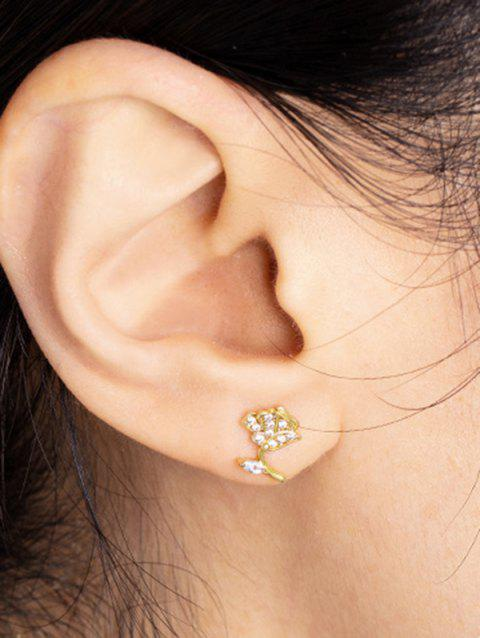 Floral Zircon Inlay Gold Plated Stud Earrings