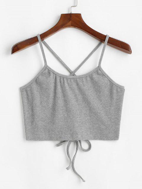 Ribbed Criss Cross Lace Up Plus Size Crop Top