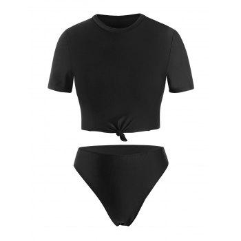 Plus Size Knotted High Cut Two Piece Swimwear