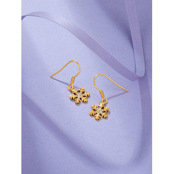 Gold Plated Snowflake Shaped Drop Earrings