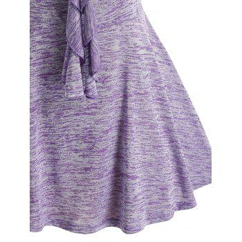 Plus Size Ruched Space Dye Ruffled Tank Top