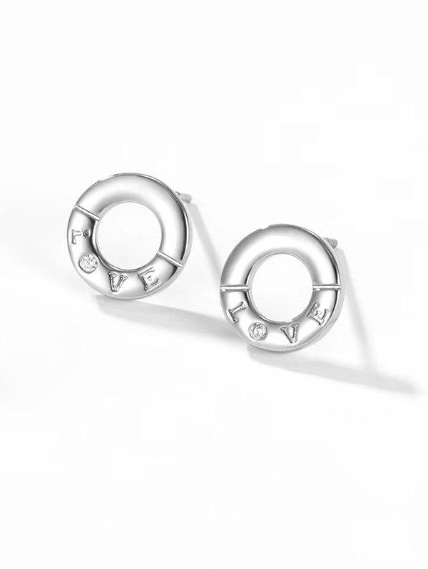 Letter Carved Round Stud Earrings - SILVER
