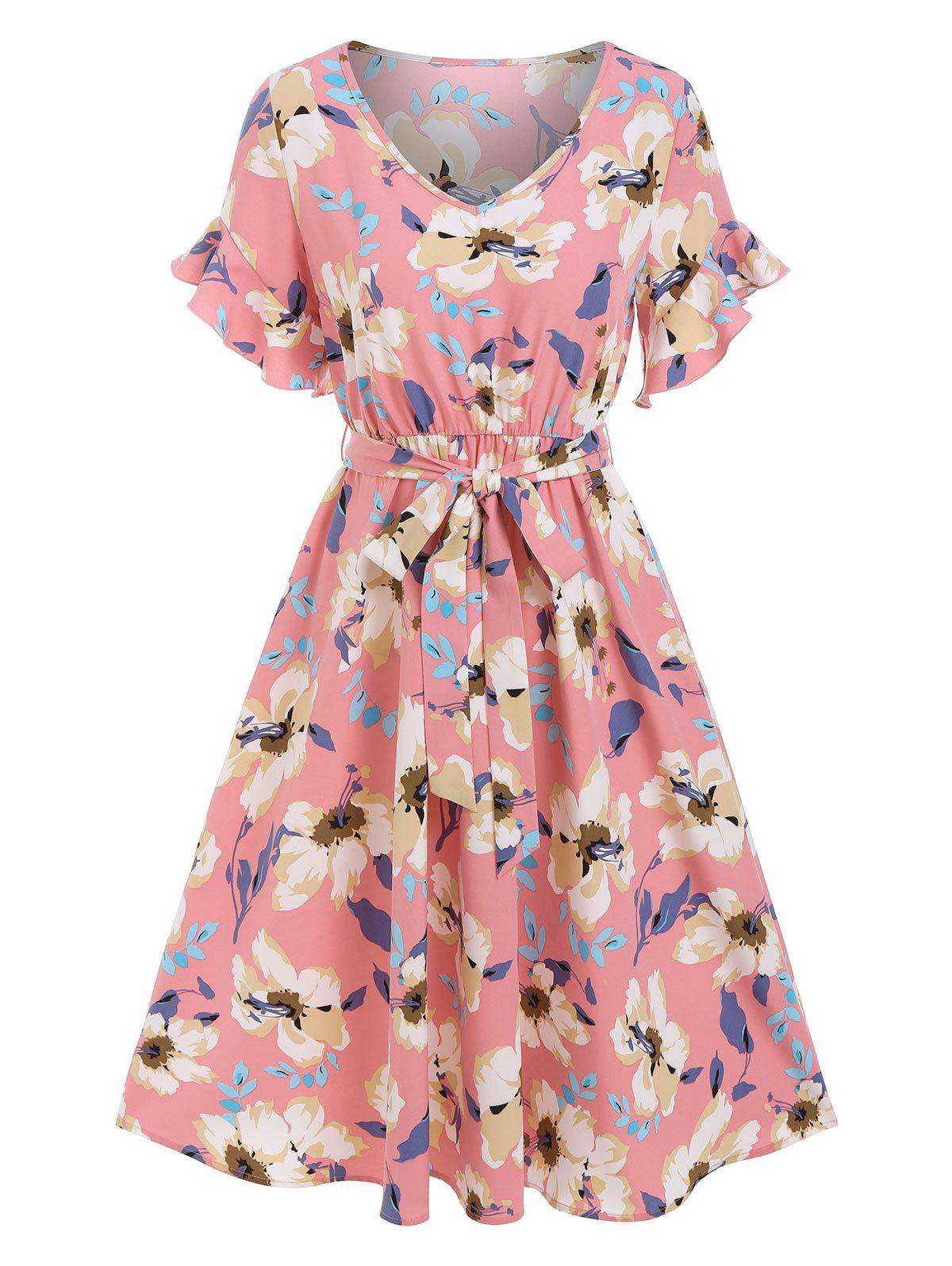 V Neck Flower Print Belted Dress - LIGHT PINK XXL