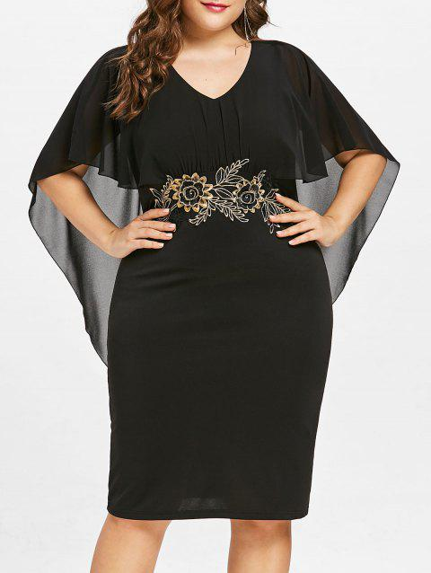 Plus Size Embroidery Capelet Bodycon Dress