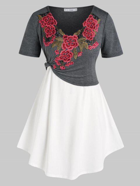 Plus Size Flower Applique Cropped Tee and Camisole Set