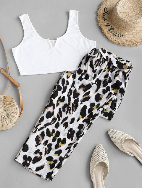 Plus Size V-notched Cropped Top and Leopard Pants Set