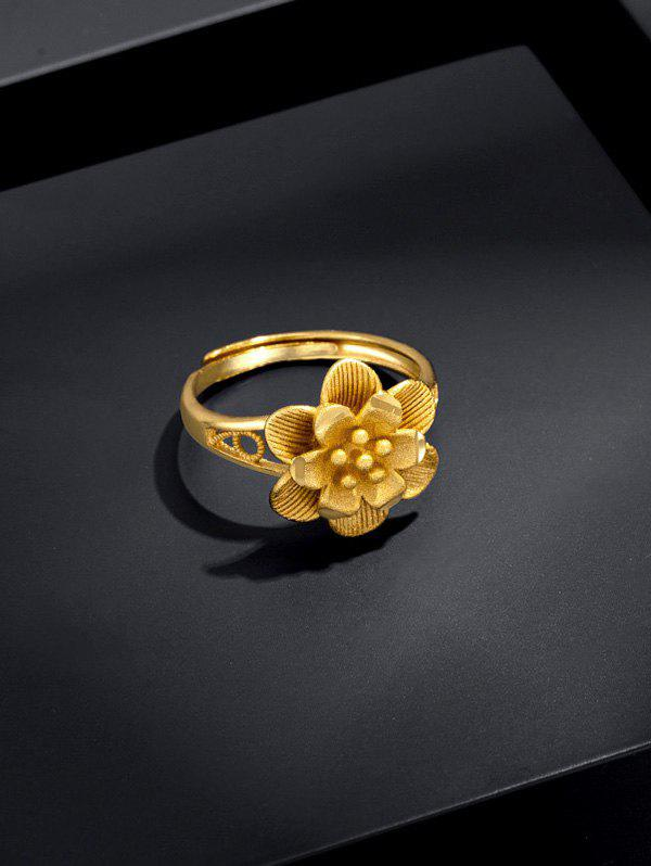 Gold Plated Layers Flower Open Ring - GOLDEN