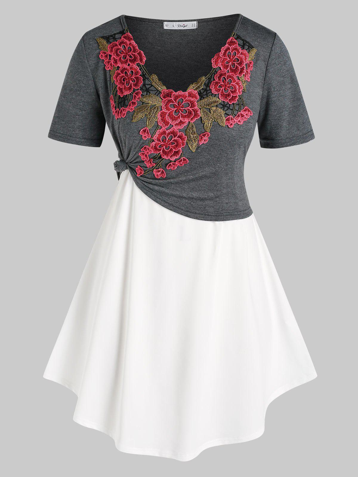 Plus Size Flower Applique Cropped Tee and Camisole Set - multicolor 3X