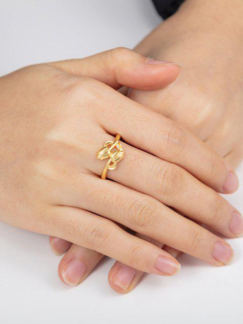Golden Double Rose Adjustable Ring