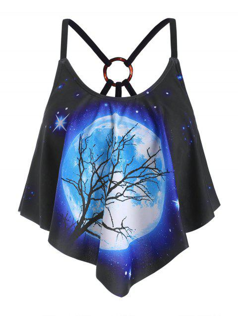 Strappy O-ring Galaxy Moon Printed Swim Top