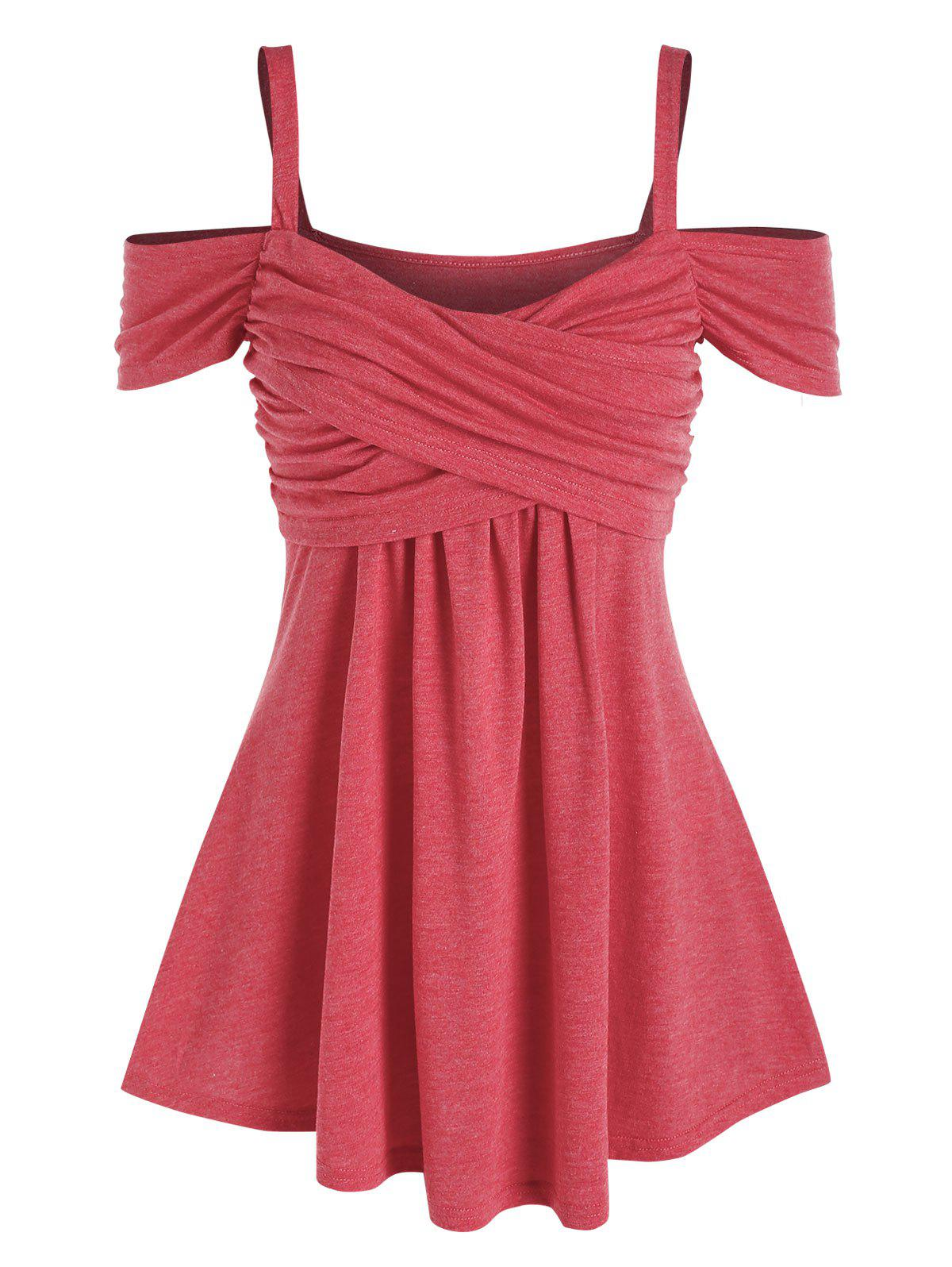 Cold Shoulder Crossover Heathered T-shirt - RED XL