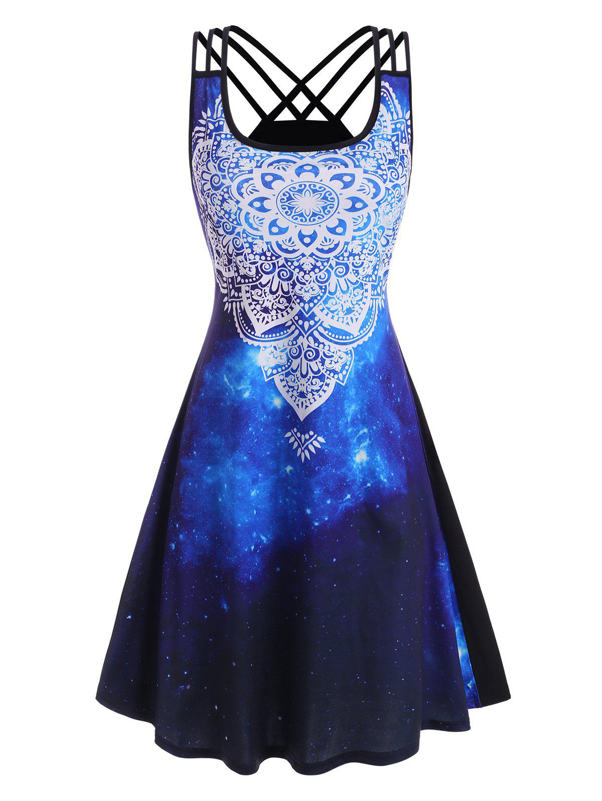 Strappy Back Splatter Paint Galaxy Printed Dress - DEEP BLUE L