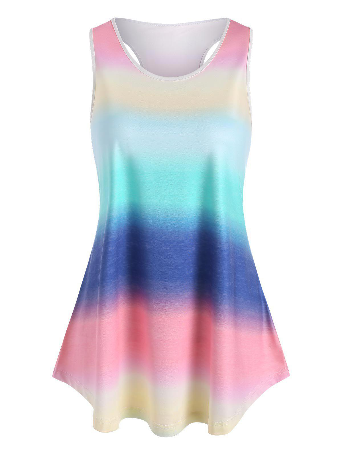Plus Size Ombre Rainbow Stripe Racerback Tank Top - multicolor L