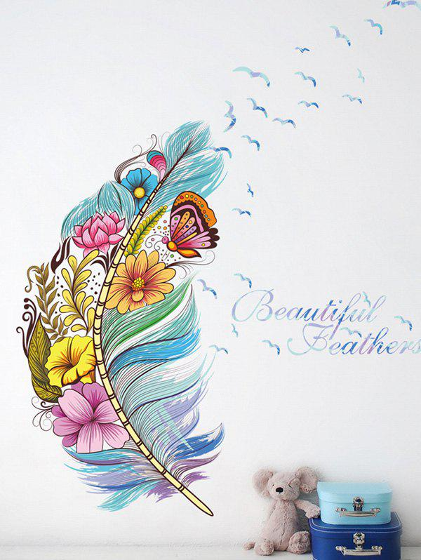 Colorful Floral Butterfly Feather Pattern Wall Sticker - multicolor A 60X45