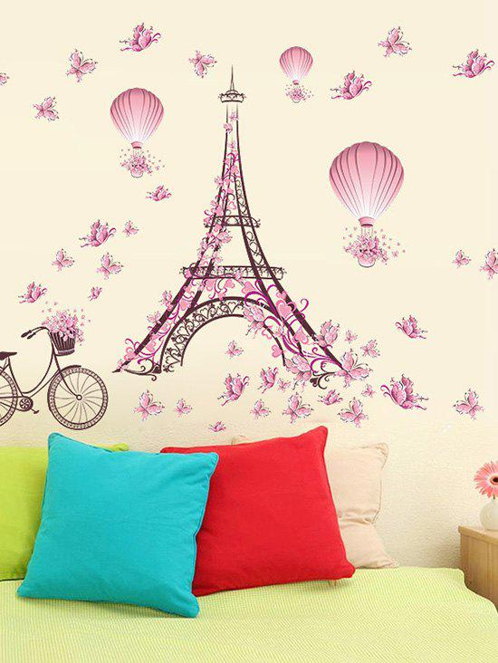 Butterfly Balloon Eiffel Tower Bicycle Pattern Wall Sticker - multicolor A 45X60