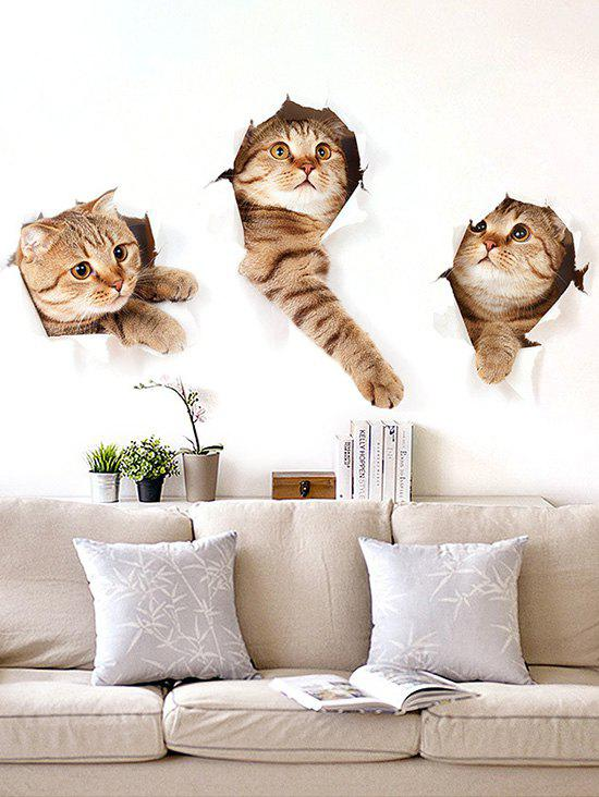 3D Effect Lovely Cat Wall Stickers - multicolor A 45X60