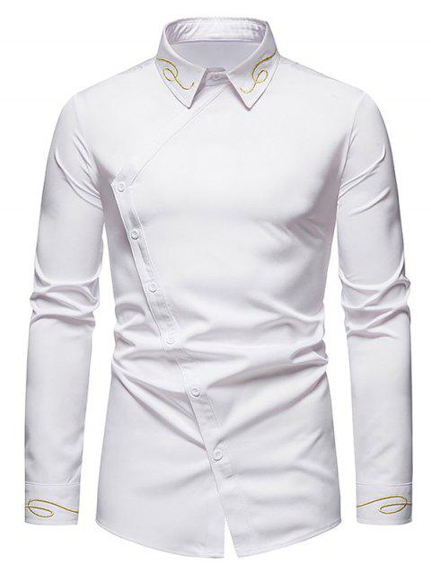 Button Up Lines Embroidered Asymmetrical Shirt