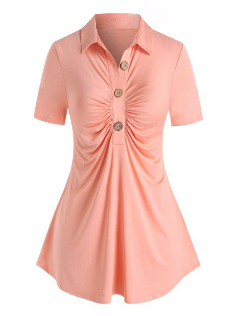 Plus Size Half Button Ruched Top