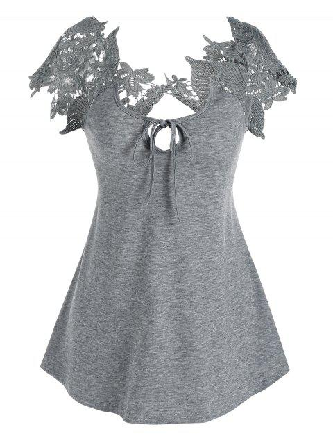 Lace Guipure Front Tie Tee