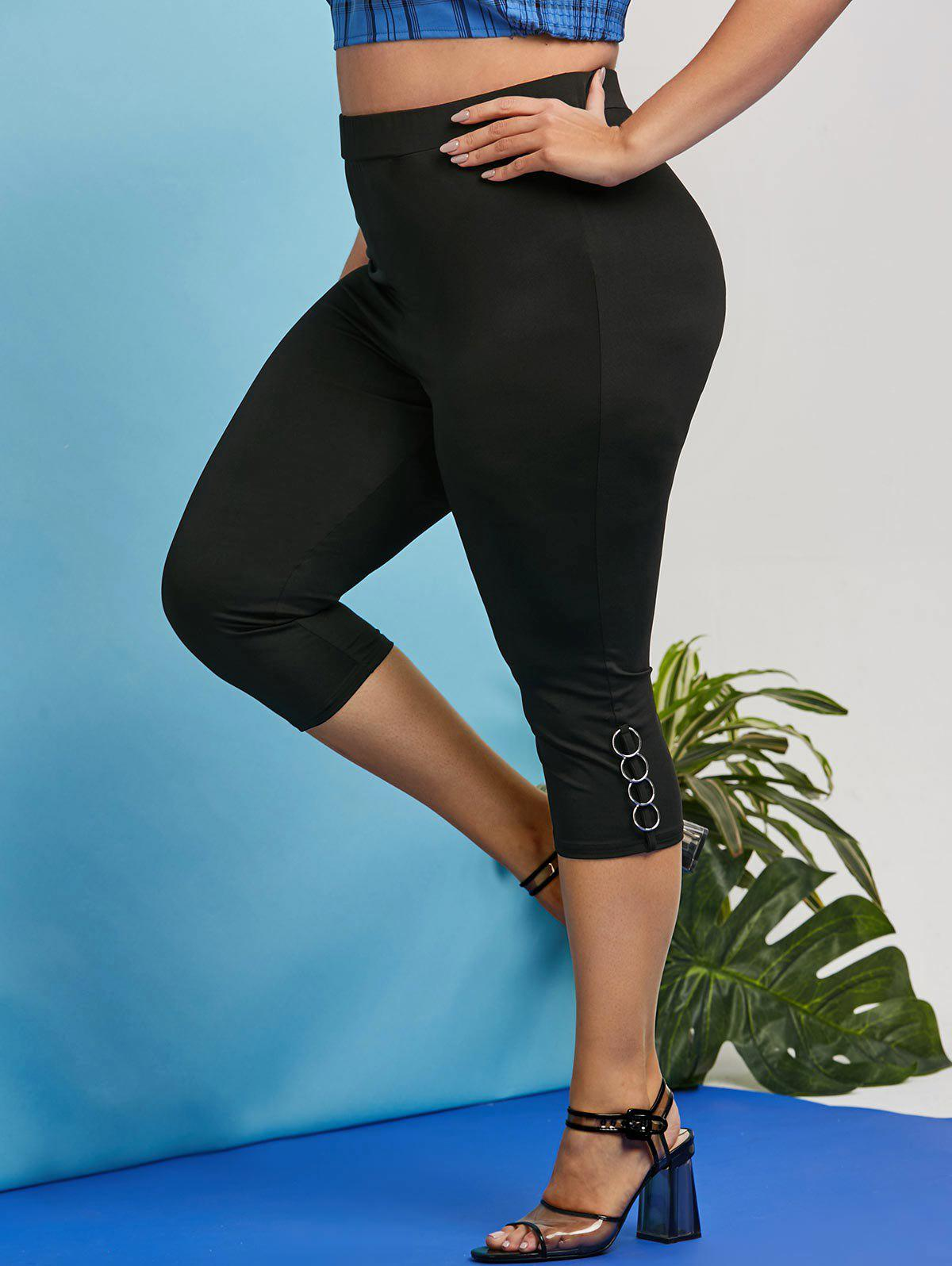 Plus Size Punk O Ring Capri Leggings - BLACK 1X