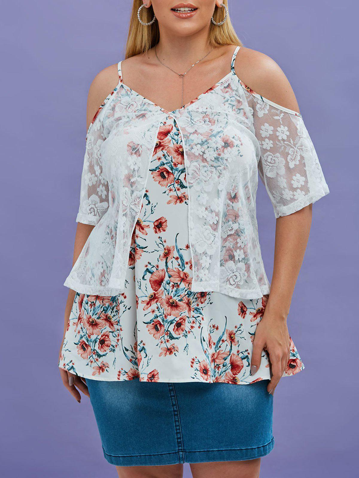 Plus Size Cold Shoulder Embroidered Lace Overlay Floral Blouse - multicolor 5X