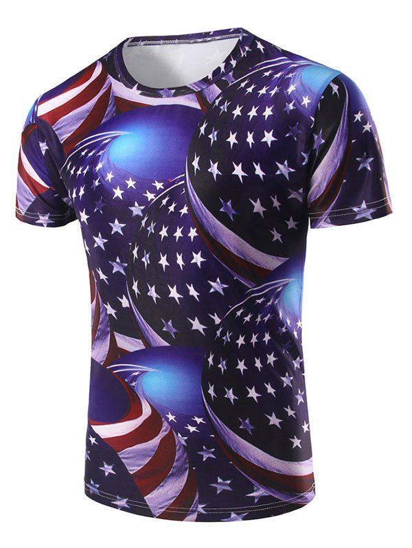 American Flag 3D Printed Short Sleeve T-shirt - multicolor S