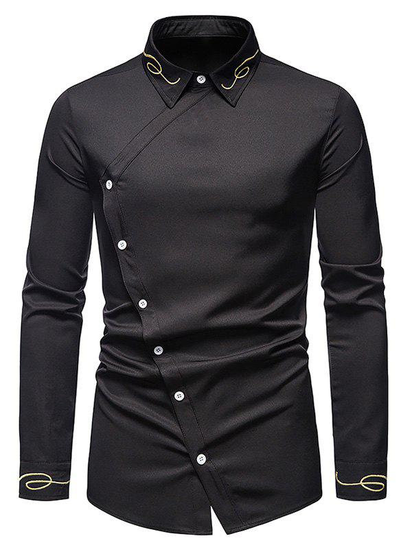 Button Up Lines Embroidered Asymmetrical Shirt - BLACK XXL