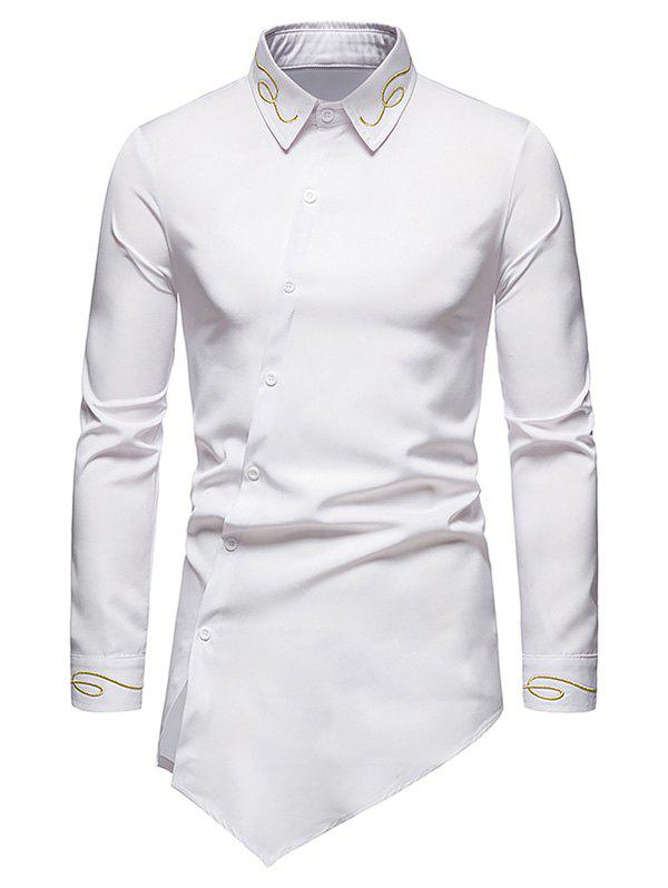 Metallic Thread Embroidered Button Up Asymmetrical Shirt - WHITE XL